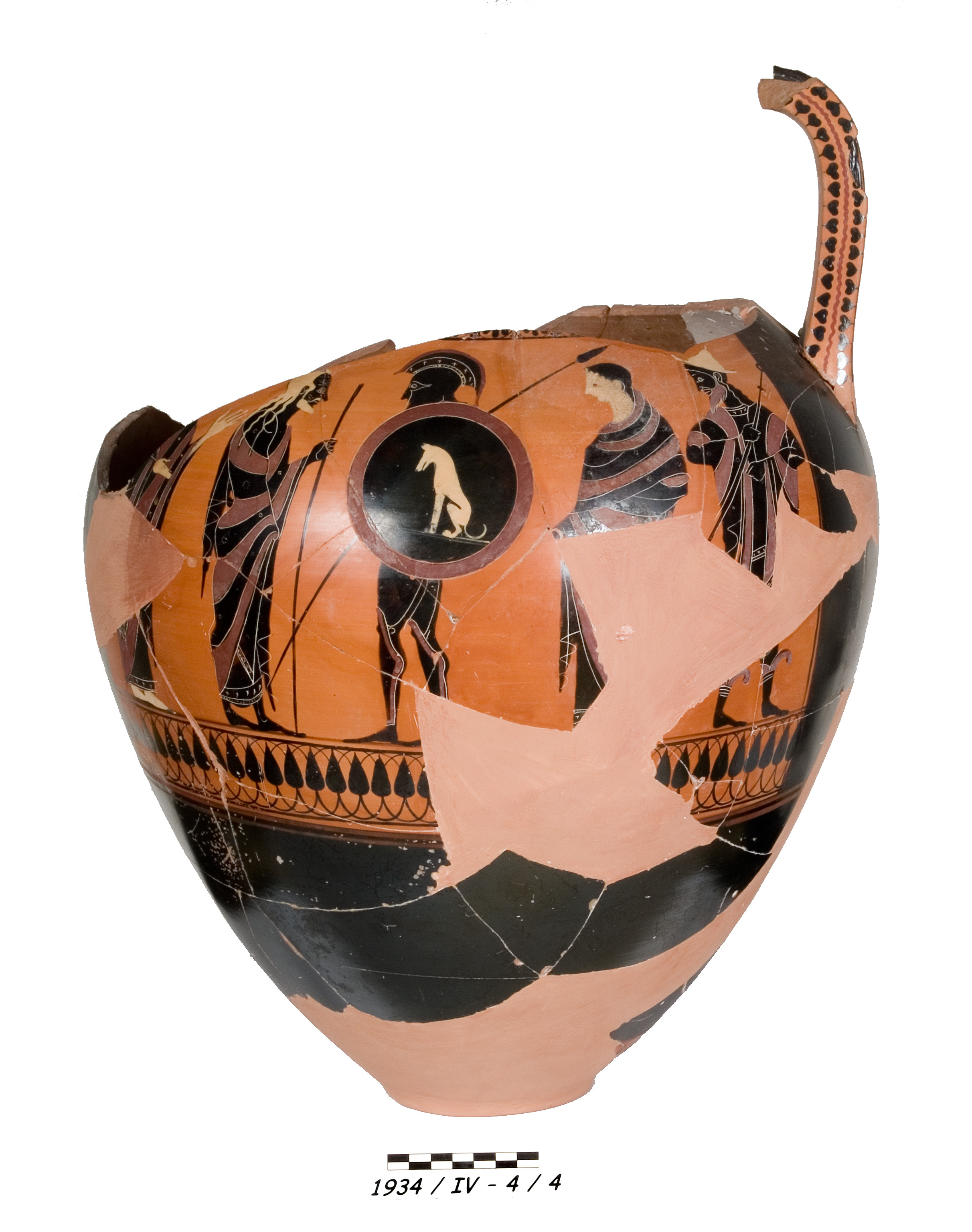 Amphora of Black-Figured Attic ware showing a soldier
